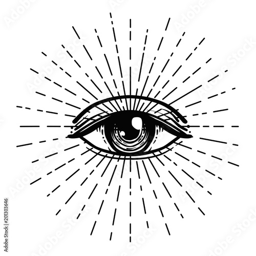 Tattoo flash. Eye of Providence. Masonic symbol. All seeing eye inside triangle pyramid. New World Order. Sacred geometry, religion, spirituality, occultism. Isolated illustration. Fototapete
