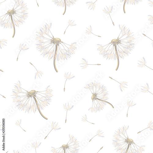 Bezszwowy wzór z strzelistymi dandelions