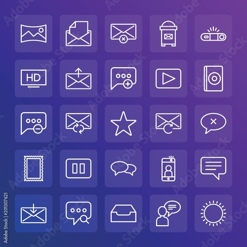 Foto op Aluminium Snoeien Modern Simple Set of chat and messenger, video, photos, email Vector outline Icons. ..Contains such Icons as message, text, open, exit and more on gradient background. Fully Editable. Pixel Perfect.