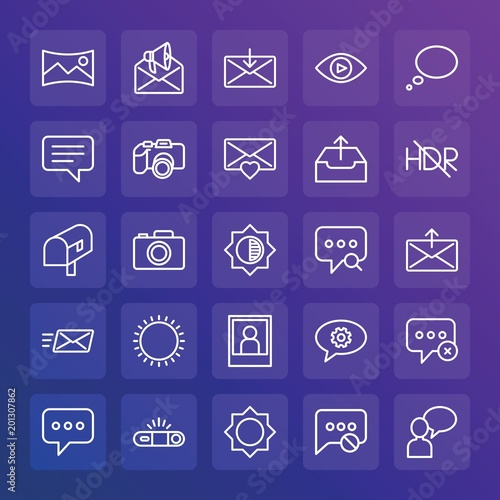 Modern Simple Set of chat and messenger, video, photos, email Vector outline Icons. ..Contains such Icons as exit, text, landscape and more on gradient background. Fully Editable. Pixel Perfect.