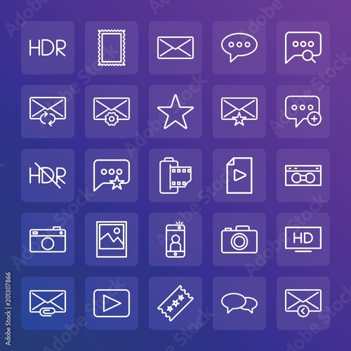 Foto op Aluminium Snoeien Modern Simple Set of chat and messenger, video, photos, email Vector outline Icons. ..Contains such Icons as video, quality, landscape and more on gradient background. Fully Editable. Pixel Perfect.