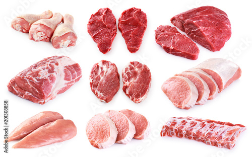 Poster Vlees Collection of meat. Beef, pork, chicken. Different parts of meat.