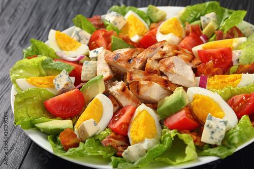 close-up of delicious american cobb salad Tableau sur Toile