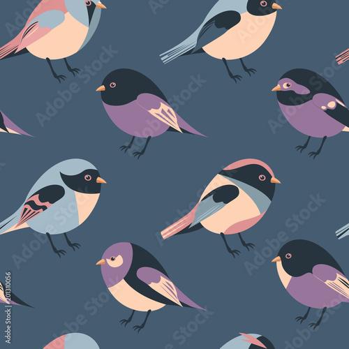 Materiał do szycia kreskówka ptactwa i skrzydlate ptactwo bezszwowe tło