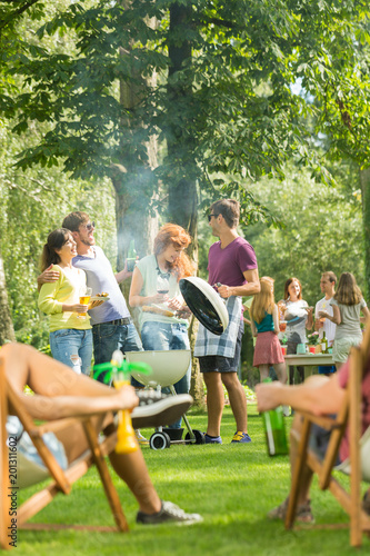 Grill party held in a park