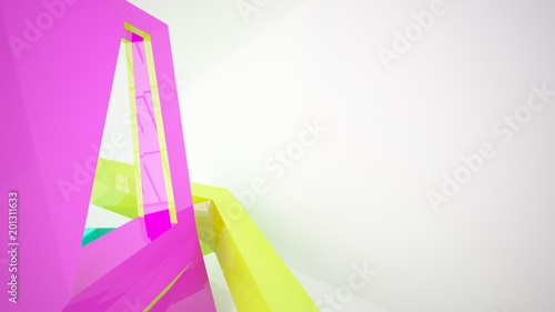 Photo Stands Abstract white and colored gradient interior multilevel public space with window. 3D illustration and rendering.