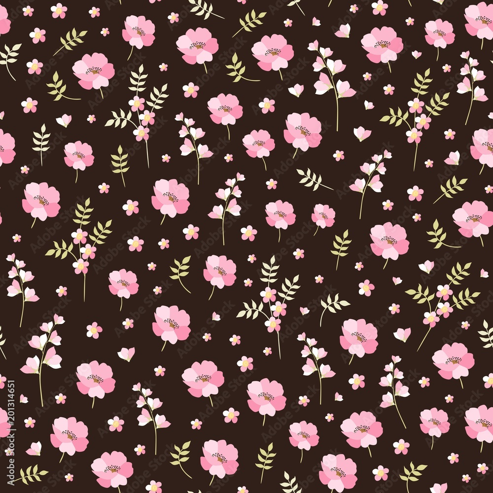 Poster Cute Seamless Pattern With Little Pink Flowers Ditsy