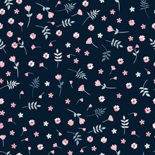 Ditsy Vector Seamless Pattern With Small Pink Flowers And Leaves On Dark Background. Floral Print For Fabric, Textile, Wallpaper.