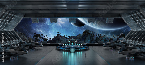 Tuinposter Fietsen Landing strip spaceship interior 3D rendering elements of this image furnished by NASA