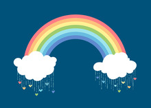 Rainbow And Clouds On Dark Blue Background.