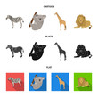 African zebra, animal koala, giraffe, wild predator, lion. Wild animals set collection icons in cartoon,black,flat style vector symbol stock illustration web.