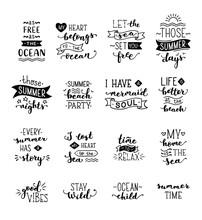 Vector Hand-drawn Lettering On Sea / Ocean Theme.