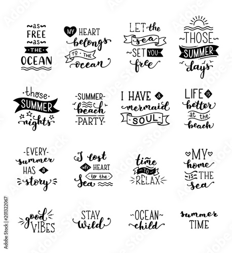 Poster Positive Typography Vector hand-drawn lettering on sea / ocean theme.