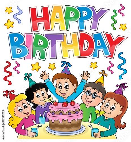 Deurstickers Voor kinderen Happy birthday thematics image 4