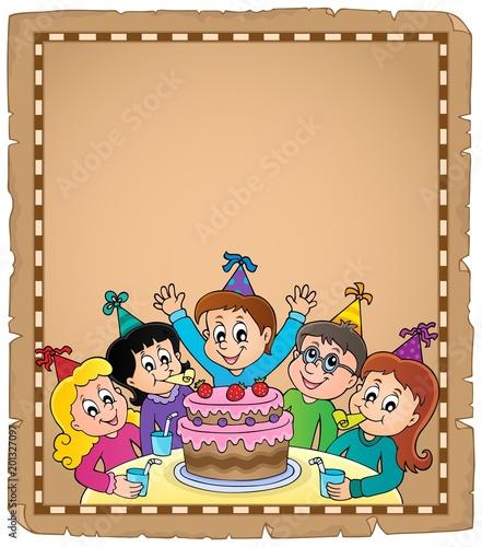 Deurstickers Voor kinderen Kids party topic parchment 1