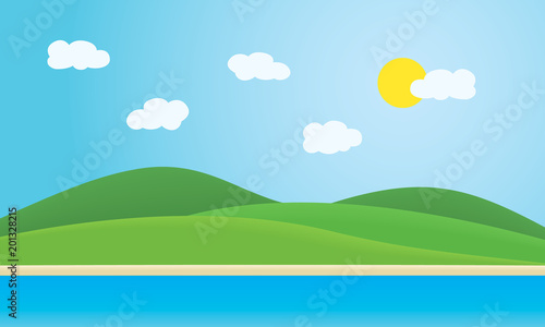Foto op Canvas Lichtblauw Sea with coast, beaches and green hills under summer blue sky with clouds and sun - with space for your text, suitable as advertising for travel or vacation