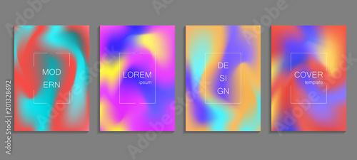Fototapeta Minimal fluid colors covers set. Future geometric gradient background. Vector templates for placards, banners, flyers, presentations and reports obraz na płótnie