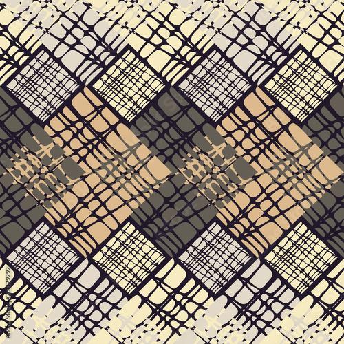 Staande foto Industrial geb. Seamless geometric pattern. The texture of rhombus. Scribble texture. Textile rapport.