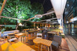 canvas print picture - Modern restaurant terrace in the summer night