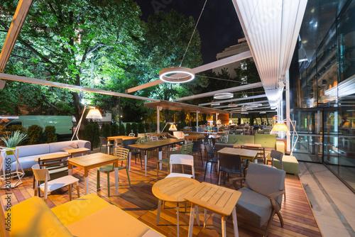 фотография  Modern restaurant terrace in the summer night