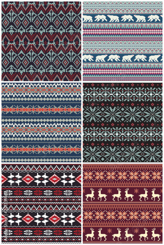 Vector nordic jacquard knitted seamless pattern collection Wallpaper Mural