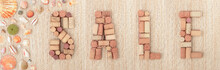 Word SALE Made Of Wine Corks O...