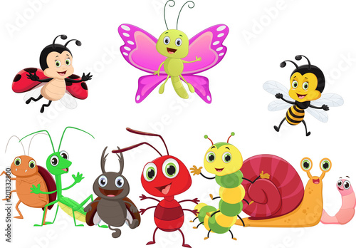 Tuinposter Vlinders illustration of happy insect cartoon isolated on white background
