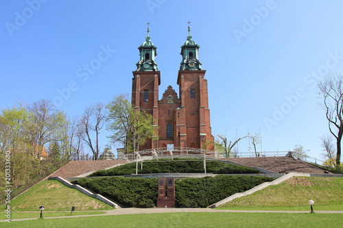 Poster Monument Gniezno Cathedral on a beautiful sunny day