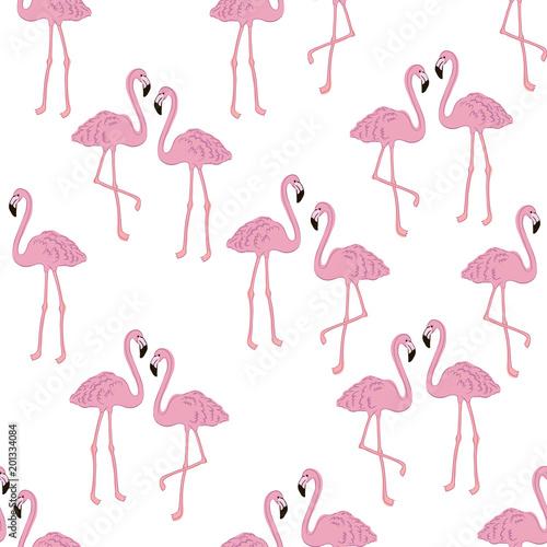 Canvas Prints Flamingo Bird Vector tropical exotic seamless pattern with flamingo.