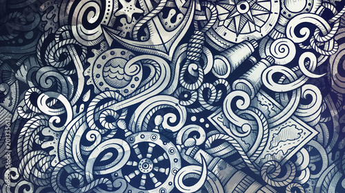 Doodles Nautical illustration. Creative marine background Poster Mural XXL