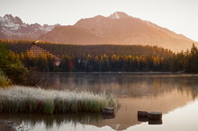 Breathtaking Panorama Of Strbske Pleso With High Tatras In The Background In The Morning In Slovakia. Shot With Film Camera With Grain.