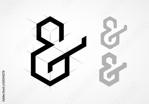 Photo Elegant vector ampersand on light background