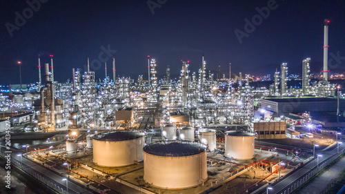 Fotografie, Obraz  Aerial top view oil and gas refinery factory and Petrochemical plant at night