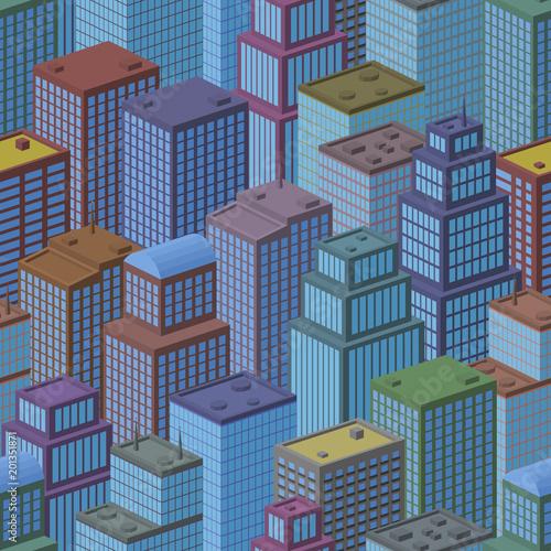 3d-izometryczny-trojwymiarowy-widok-megapolis-miasto-bezszwowy-miastowy-krajobraz-dachowkowy-tlo-z-kolorowymi-kreskowka-domami