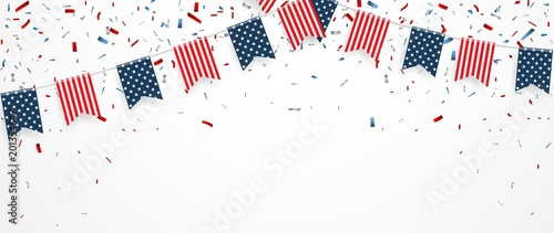 Cuadros en Lienzo Independence day of america with confetti and ribbon
