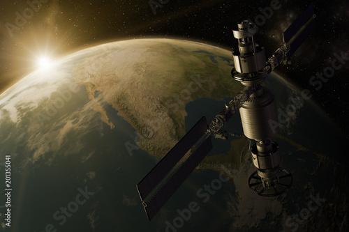 Pinturas sobre lienzo  3D rendering of a satellite orbiting the earth