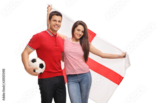 Soccer fans with an English flag Canvas Print