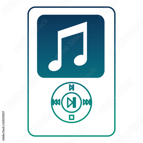 mp3 music sound device technology vector illustration degraded color