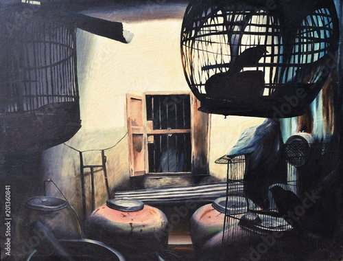 Fotografia, Obraz The silhouette of the bird in the cage has red jars with cream-colored wall and
