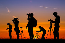 Illustration Of Photographers At Sunset