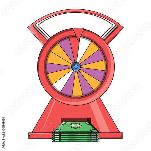 prize wheel of fortune with money bills  over white background, colorful design плакат