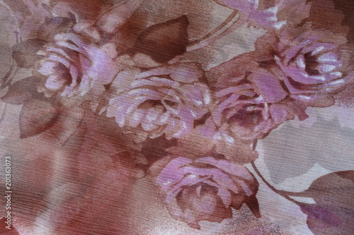 Fotografie, Obraz  Roses print on dark thin chiffon fabric