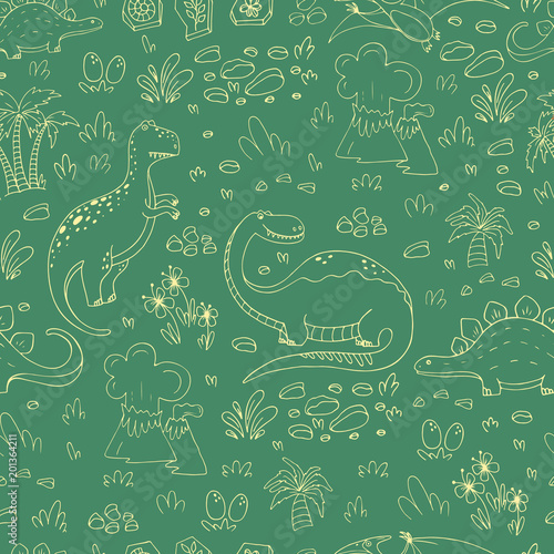 Cotton fabric Pattern with dinosaurs
