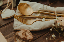 Gold Cutlery And Heart Shape Decorations