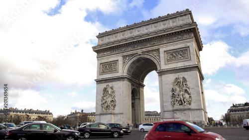 Photo sur Toile Paris Place Charles de Gaulle with beautiful Arc de Triomphe in center, Paris sights