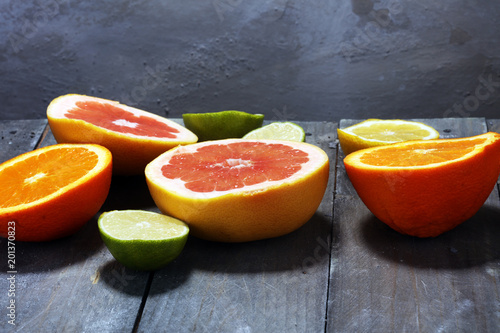 Citrus fruits with orange, lemon, grapefruit and lime
