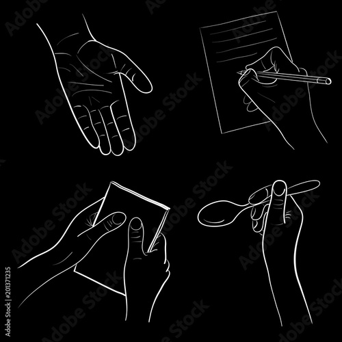 Fototapety, obrazy: Set of four white on black sketches of hands doing the action