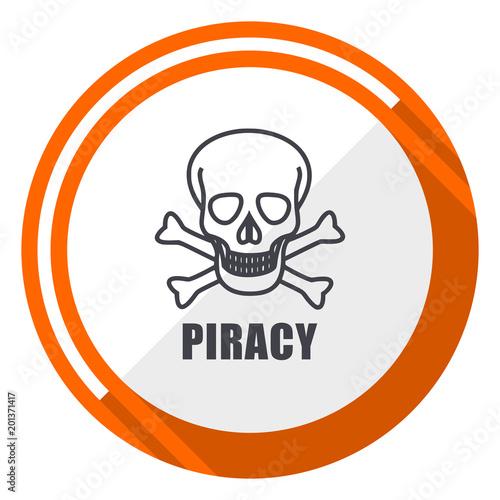 Fotografie, Obraz  Piracy skull flat design orange round vector icon in eps 10