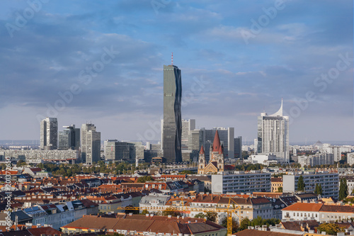 Fotobehang Midden Oosten The Donaucity area in Vienna, seen from the 2nd district