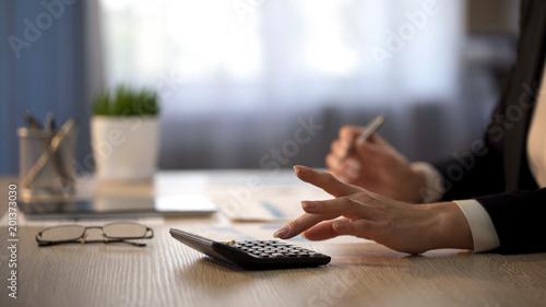 Fotografía  Busy lady accountant calculating company revenue sharing, money distribution